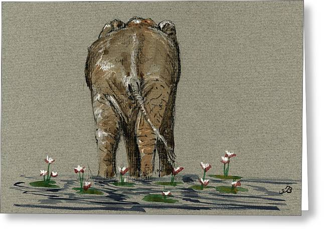 Elephant With Water Lilies Greeting Card by Juan  Bosco