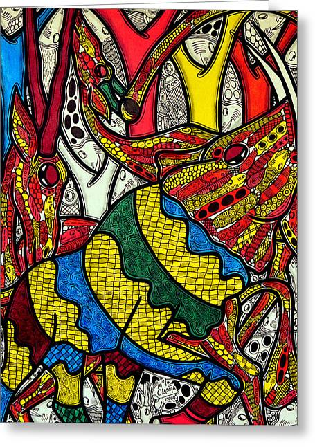 African Art Greeting Cards - Elephant world Greeting Card by Muktair Oladoja