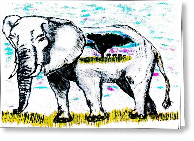 Horizon Pastels Greeting Cards - Elephant World Greeting Card by Shaunna Juuti