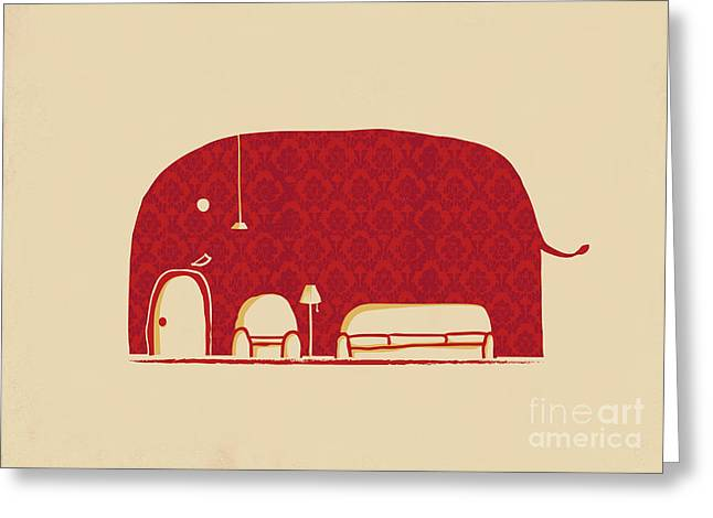 Wallpaper Greeting Cards - Elephanticus Roomious Greeting Card by Budi Kwan