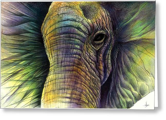 Elaphant Greeting Cards - Elephantos Greeting Card by Nikos Xylakis