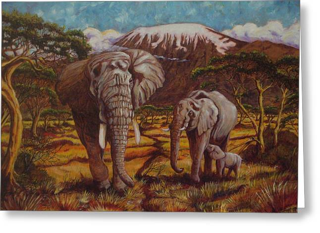 Paris Wyatt Llanso Greeting Cards - Elephants and Kilimanjaro Greeting Card by Paris Wyatt Llanso