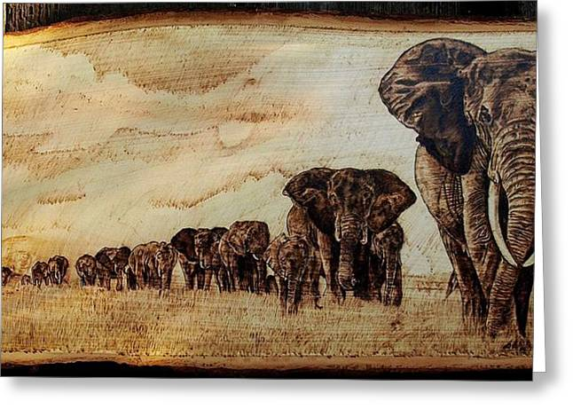 Elephants Pyrography Greeting Cards - Elephants are contagious Greeting Card by Ciprian Macovei