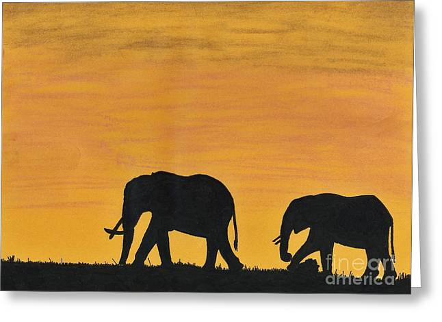Recently Sold -  - African-american Greeting Cards - Elephants - At - Sunset Greeting Card by D Hackett