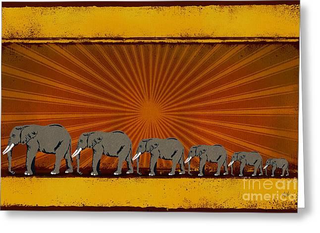 Elephants Greeting Card by Bedros Awak