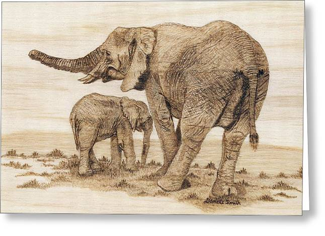Elephant Pyrography Greeting Cards - Elephants Greeting Card by Danette Smith
