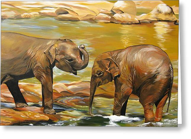 Girl And Animals Framed Prints Greeting Cards - Elephants- Different Dimensions Greeting Card by Cathy Jacobs
