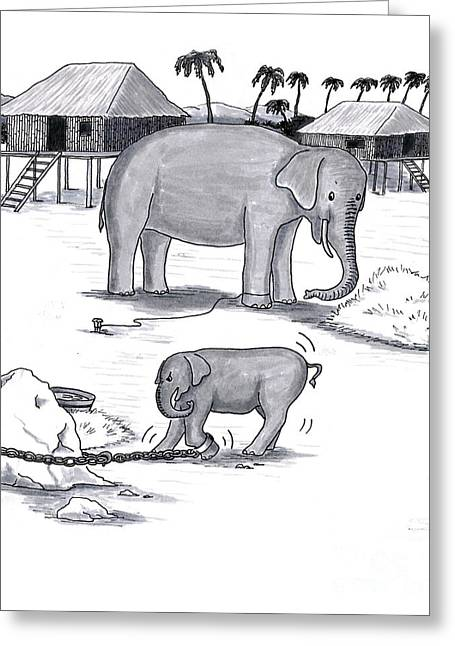 Wild Life Drawings Greeting Cards - Elephants Held Captive Greeting Card by Lee Serenethos