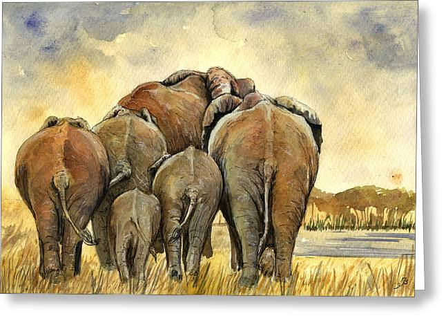 Elephants Herd Greeting Card by Juan  Bosco