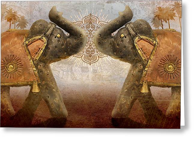African Elephants Greeting Cards - Elephants I Greeting Card by April Moen
