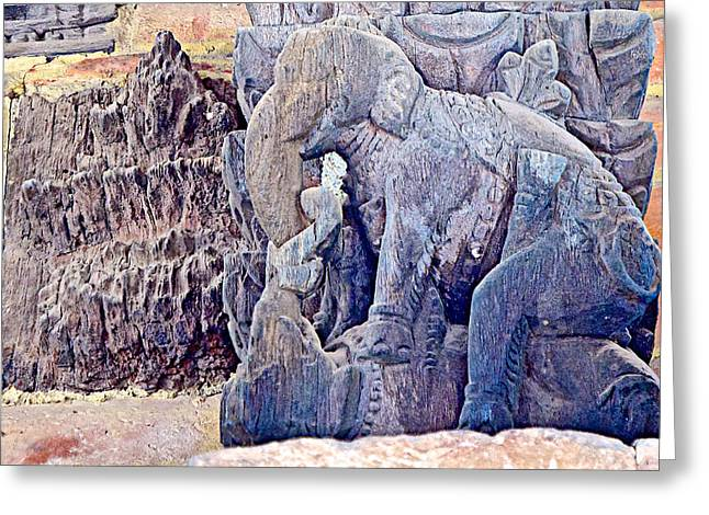 The Devotee Greeting Cards - Elephants in the Missionary Position in Wooden Carving in Bhaktapur-Nepal  Greeting Card by Ruth Hager