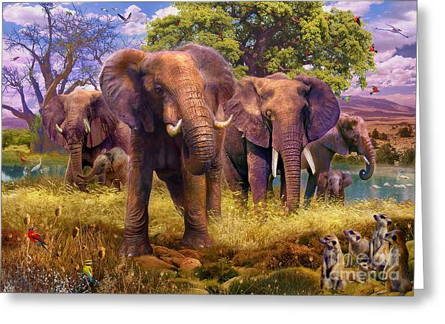 Savannahs Greeting Cards - Elephants Greeting Card by Jan Patrik Krasny