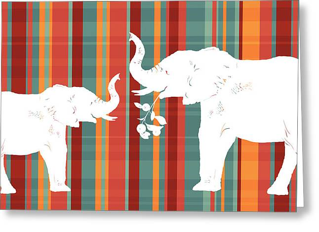 Recently Sold -  - Caring Mother Greeting Cards - Elephants Share Greeting Card by Alison Schmidt Carson