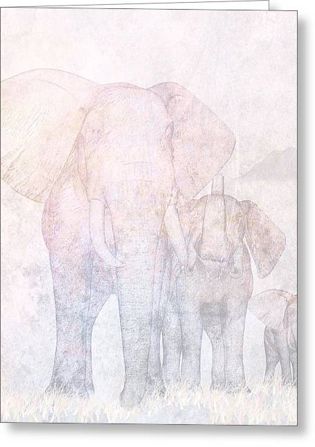 Concept Mixed Media Greeting Cards - Elephants - Sketch Greeting Card by John Edwards