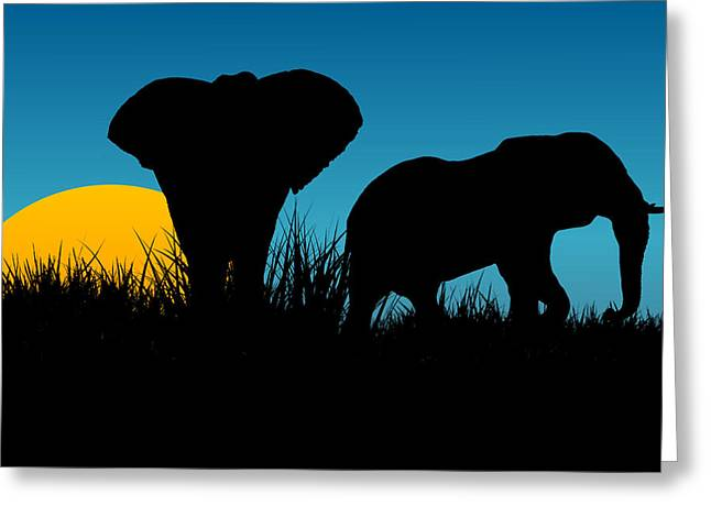 Lions Greeting Cards - Elephants Two Greeting Card by Stephanie Hamilton