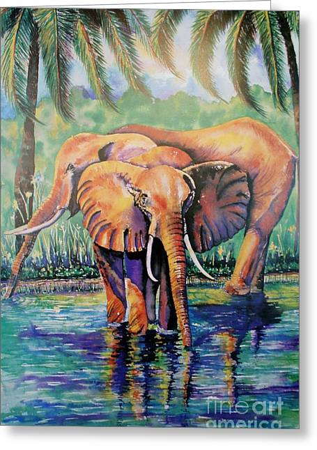 Roll Tide Paintings Greeting Cards - Elephants Wading Greeting Card by Cyndi Eastburn