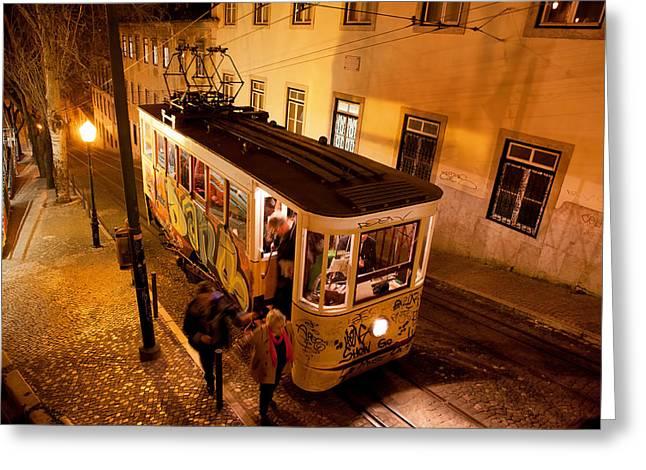 Funicular Greeting Cards - Elevador da Gloria at Night in Lisbon Greeting Card by Artur Bogacki