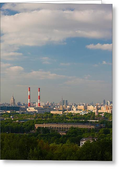 World Locations Greeting Cards - Elevated City View, Sparrow Hills Greeting Card by Panoramic Images