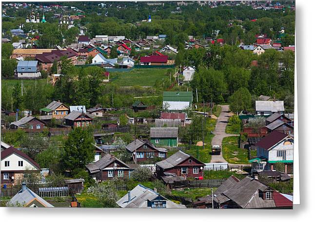 Russian Orthodox Greeting Cards - Elevated Town View From Goritsky Greeting Card by Panoramic Images