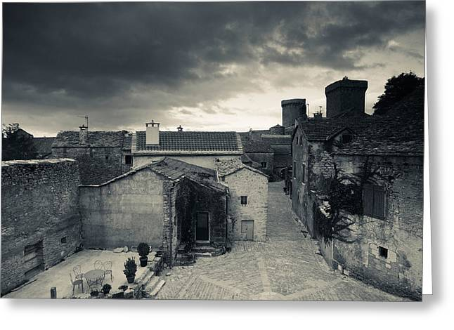 Midi Greeting Cards - Elevated Town View From The Ramparts Greeting Card by Panoramic Images