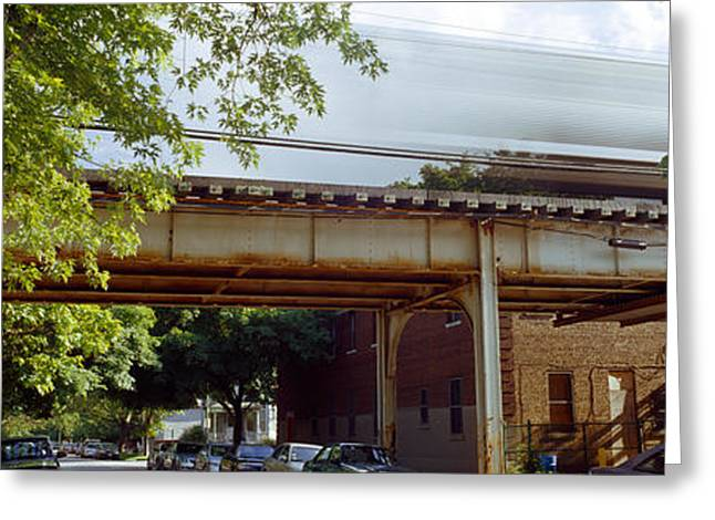 Train On Bridge Greeting Cards - Elevated Train On A Bridge, Ravenswood Greeting Card by Panoramic Images