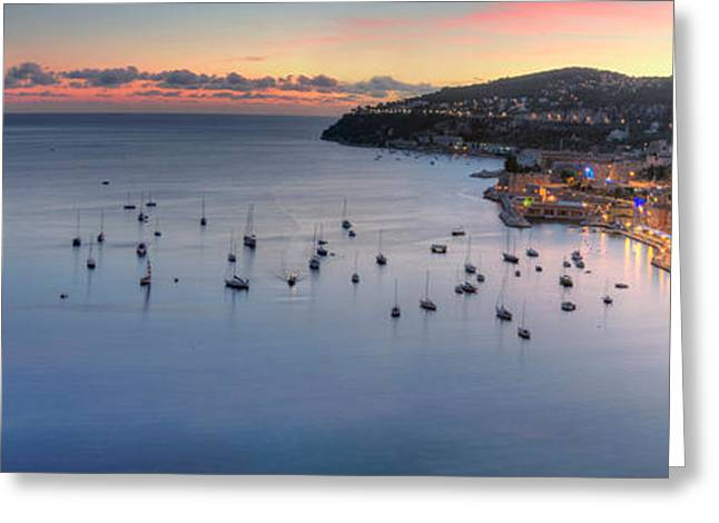 Villefranche Greeting Cards - Elevated View Of A City At Dusk Greeting Card by Panoramic Images