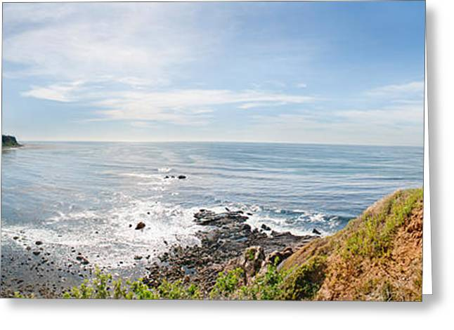 Palos Verdes Cove Greeting Cards - Elevated View Of A Coast, Palos Verdes Greeting Card by Panoramic Images