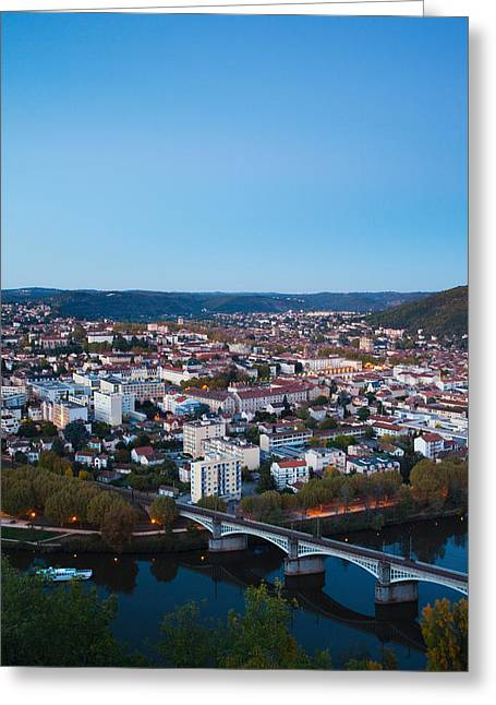 Midi Greeting Cards - Elevated View Of A Town At Dusk Greeting Card by Panoramic Images
