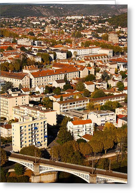 Midi Greeting Cards - Elevated View Of A Town, Cahors, Lot Greeting Card by Panoramic Images