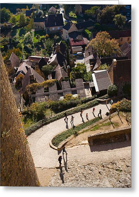 Chateau Greeting Cards - Elevated View Of A Village With Chateau Greeting Card by Panoramic Images