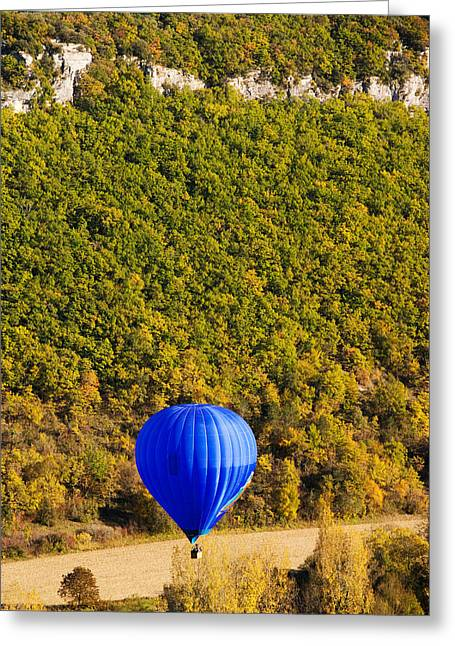 Mid-air Greeting Cards - Elevated View Of Hot Air Balloon Greeting Card by Panoramic Images