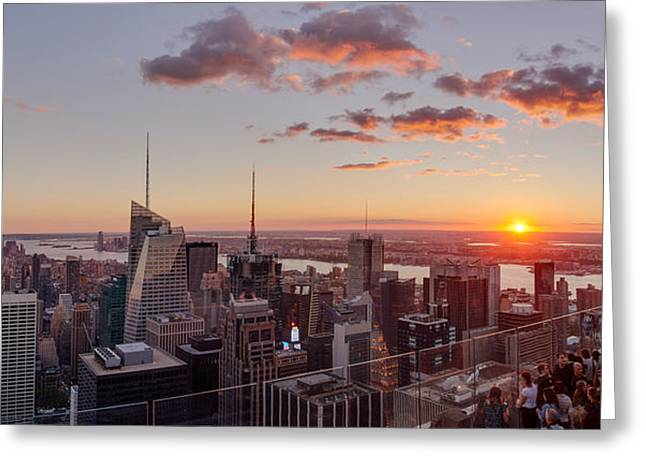 Rockefeller Center Greeting Cards - Elevated View Of Manhattan Greeting Card by Panoramic Images