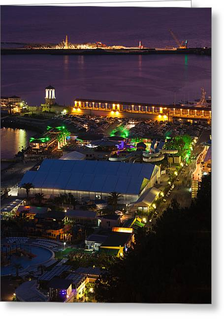 Elevated Views Greeting Cards - Elevated View Of Port At Sunset Greeting Card by Panoramic Images