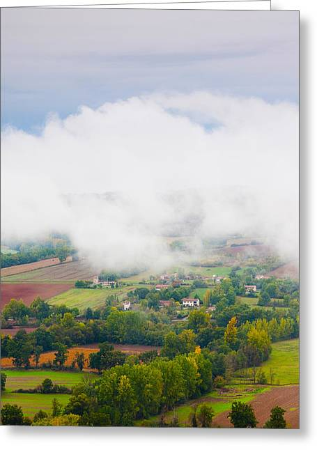 Midi Greeting Cards - Elevated View Of The Cerou Valley Greeting Card by Panoramic Images