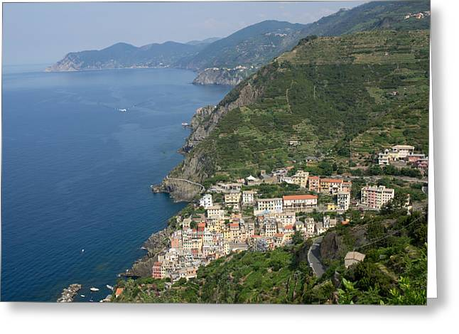 Riomaggiore Greeting Cards - Elevated View Of The Riomaggiore, La Greeting Card by Panoramic Images