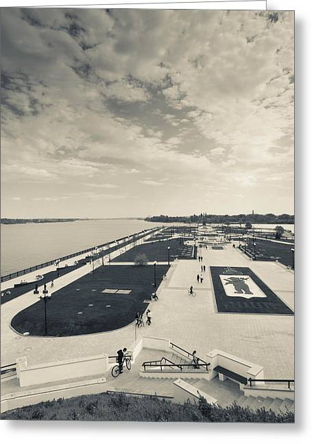 World Locations Greeting Cards - Elevated View Of The Strelka, Volga Greeting Card by Panoramic Images