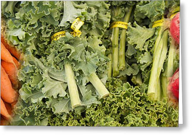 Lettuce Greeting Cards - Elevated View Of Vegetables At Market Greeting Card by Panoramic Images