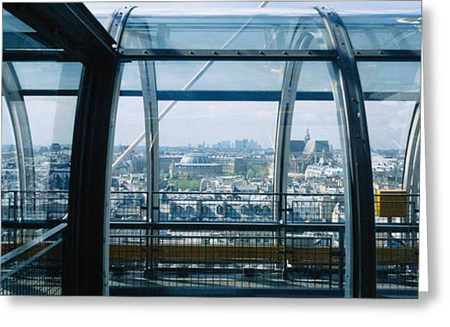 20th Greeting Cards - Elevated Walkway In A Museum, Pompidou Greeting Card by Panoramic Images