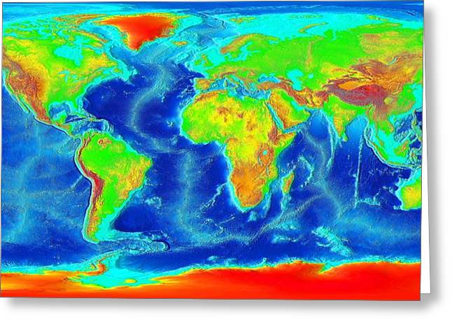 Map Of The World Greeting Cards - Elevation Map of The World Greeting Card by Sebastian Musial