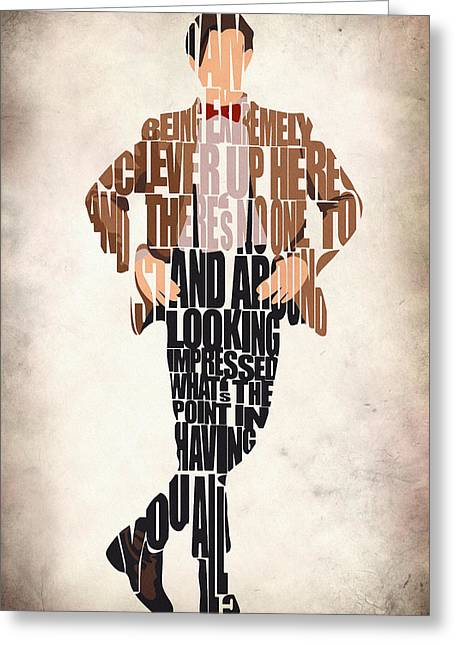 Typographic Digital Art Greeting Cards - Eleventh Doctor - Doctor Who Greeting Card by Ayse Deniz