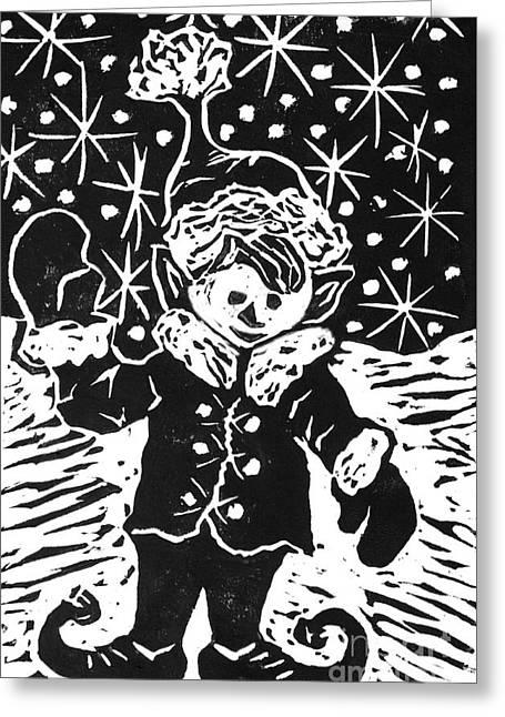Relief Printing Greeting Cards - Elf   Block Print Greeting Card by Ellen Miffitt
