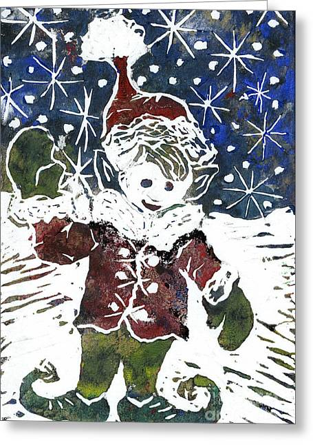 Relief Printing Greeting Cards - Elf   Block Print in color Greeting Card by Ellen Miffitt