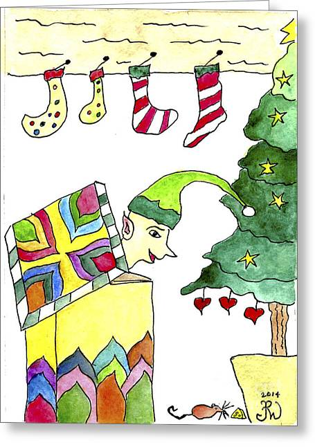 Jack-in-the-box Greeting Cards - Elf In The Box Greeting Card by Paula Joy Welter