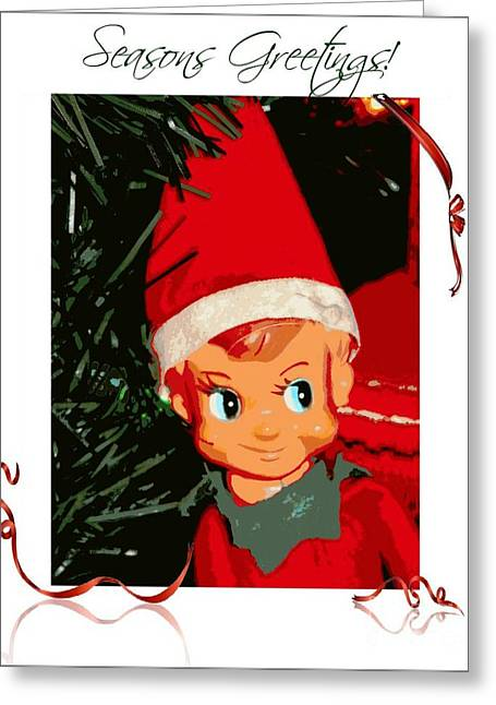 Frizzell Greeting Cards - Elf on the Shelf Seasons Greetings Greeting Card by Michelle Frizzell-Thompson