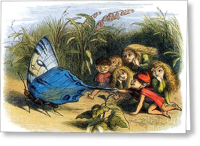 Fabled Greeting Cards - Elf Teasing A Butterfly, Legendary Greeting Card by Photo Researchers