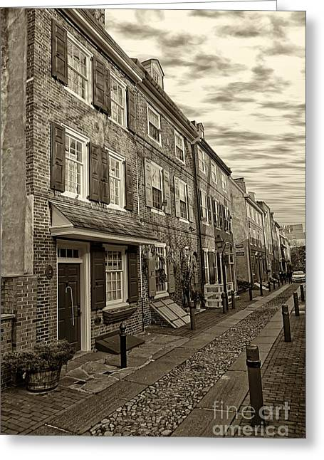 Philadelphia Alley Greeting Cards - Elfreths Alley 12 Greeting Card by Jack Paolini