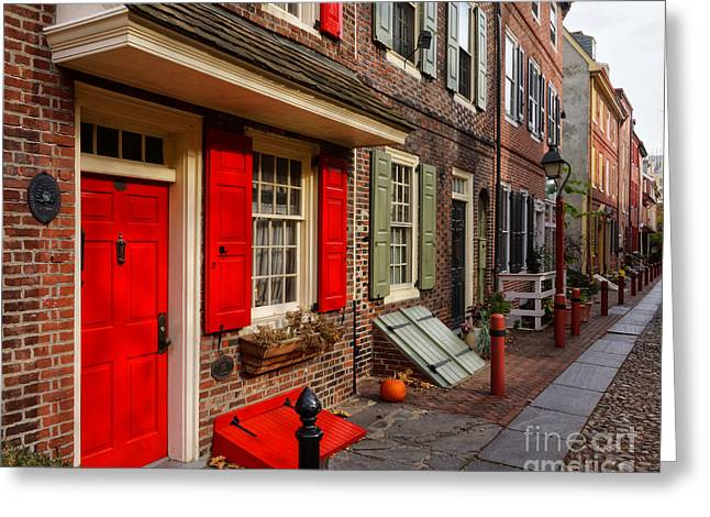 Philadelphia Alley Greeting Cards - Elfreths Alley 3 Greeting Card by Jack Paolini