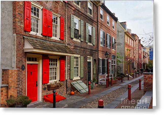 Philadelphia Alley Greeting Cards - Elfreths Alley 4 Greeting Card by Jack Paolini