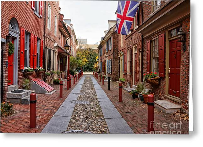 Philadelphia Alley Greeting Cards - Elfreths Alley 5 Greeting Card by Jack Paolini