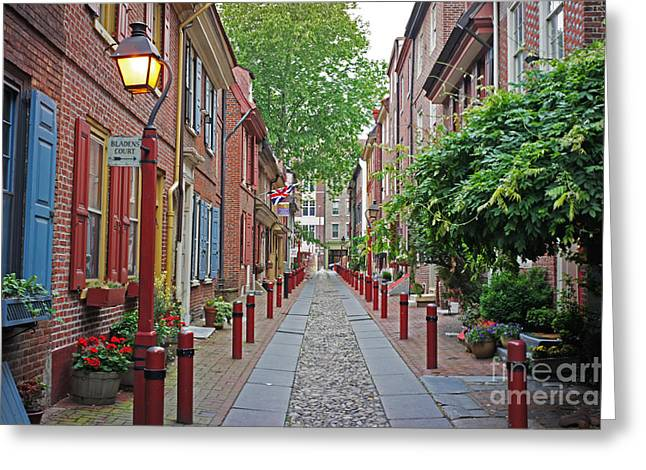 Philadelphia Alley Greeting Cards - Elfreths Alley color 2 Greeting Card by Jack Paolini